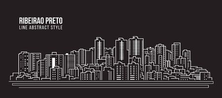 Cityscape Building panorama Line art Vector Illustration design - Ribeirao preto city