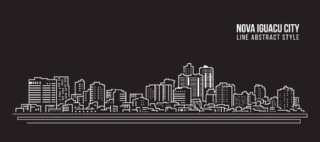 Cityscape Building panorama Line art Vector Illustration design - Nova iguacu city