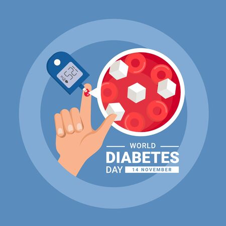 world diabetes day banner with hand blood are Glucose testing and Blood sugar zoom in blue circle ring vector design