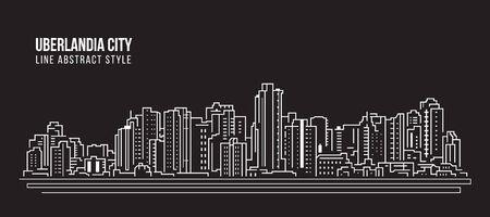 Stadtbild Gebäude Panorama Strichzeichnungen Vector Illustration Design - Uberlandia city