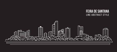 Cityscape Building panorama Line art Vector Illustration design - Feria de Santana city Иллюстрация