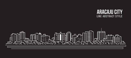 Cityscape Building panorama Line art Vector Illustration design - Aracaju city