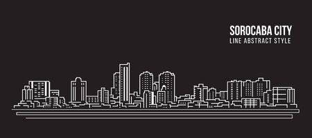 Cityscape Building panorama Line art Vector Illustration design - Sorocaba city