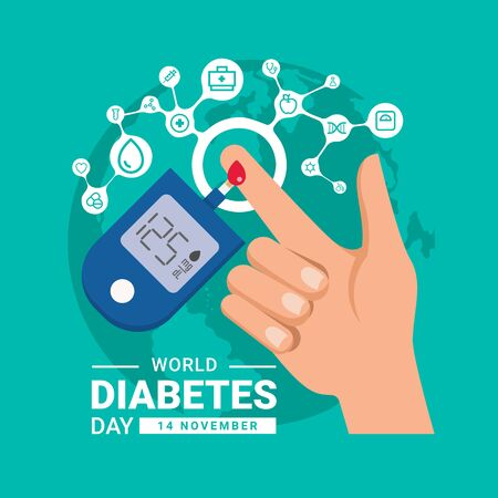 world diabetes day banner with hand blood are Glucose testing and circle icon medical care connect link on world background vector design Ilustracja