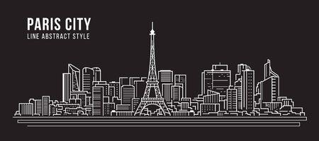 都市景観建物 パノラマ ライン アート ベクター イラストデザイン -パリ市 ベクターイラストレーション