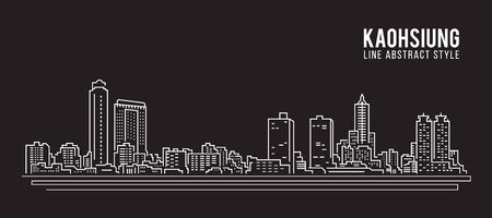 Cityscape Building Line art Vector Illustration design - Kaohsiung city