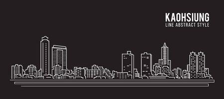 Cityscape Building Line art Vector Illustration design - Kaohsiung city