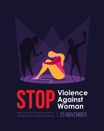 International Day For The Elimination Of Violence Against Woman banner - Shadow man attacked a woman sitting on the floor Stock fotó - 134597668
