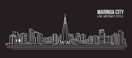 Paisaje urbano Edificio Panorama de la Línea de arte de diseño de ilustración vectorial - La ciudad de Maringa