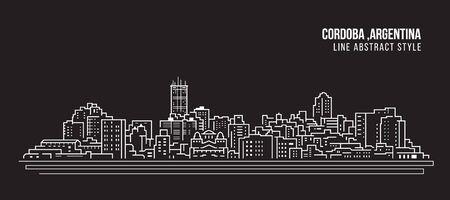 Cityscape Building panorama Line art Vector Illustration design - Cordoba city, argentina