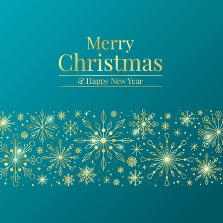 merry christmas banner - gold tab bar with abstract line snow sign on blue background vector design Illustration