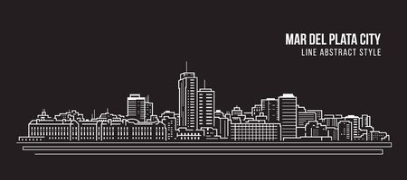 Cityscape Building panorama Line art Vector Illustration design - Mar del plata city 矢量图像