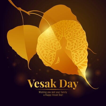 Vesak day with gold Buddha sign in bodhi leaf branch and bokeh light on full moon night background vector design
