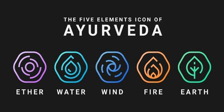 The Five elements icon of Ayurveda with ether water wind fire and earth Line Rounded hexagon icon sign vector design