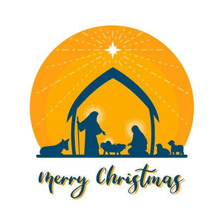 Merry Christmas with Nightly christmas scenery mary and joseph in a manger with baby Jesus vector design