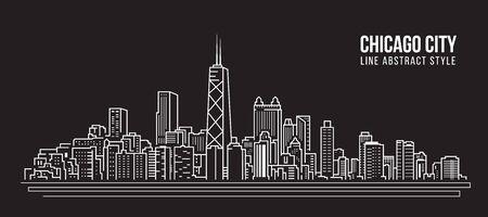 Paisaje urbano Edificio de la Línea de arte de diseño de ilustración vectorial - La ciudad de Chicago