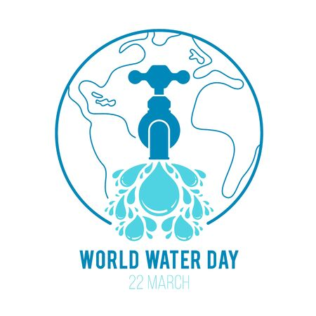 World water day simple faucet or water tap with a drops of water and world line background vector design Illustration
