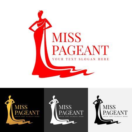 Miss pageant logo avec belle dame robe de soirée et conception de vecteur de couronne