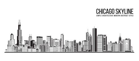 Cityscape Building Simple architecture modern abstract style art Vector Illustration design -  Chicago city