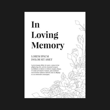 Funeral banner - In loving memory text and simple text on A4 white paper with abstract line rose texture vector design