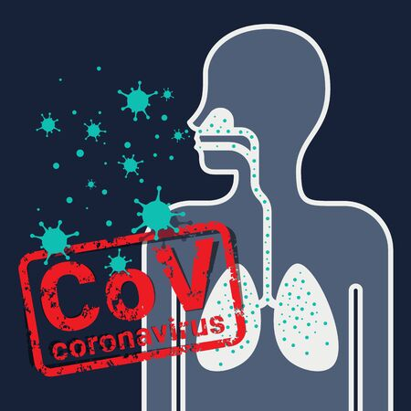 CoV coronavirus concept with human sign and virus enters the lungs vector design