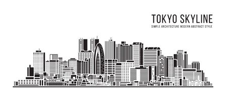 Cityscape Building Simple architecture modern abstract style art Vector Illustration design - Tokyo city
