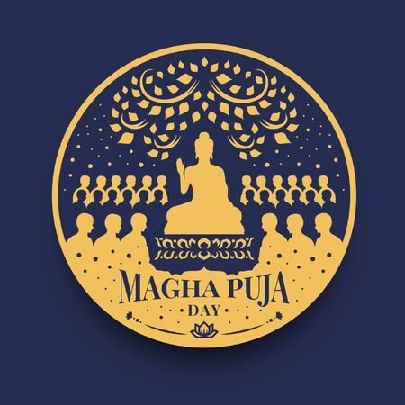 Magha puja day banner with The Lord Buddha Preach monks in circle sign vector  design Vectores