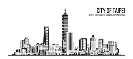Cityscape Building Simple architecture modern abstract style art Vector Illustration design  -  city of Taipei