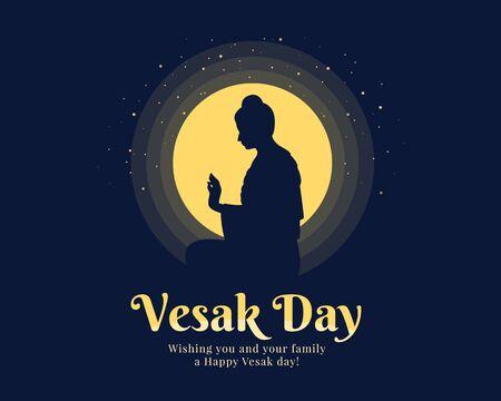 La bannière du jour du Vesak avec le Seigneur Bouddha a levé les mains pour prêcher le jour de la pleine lune