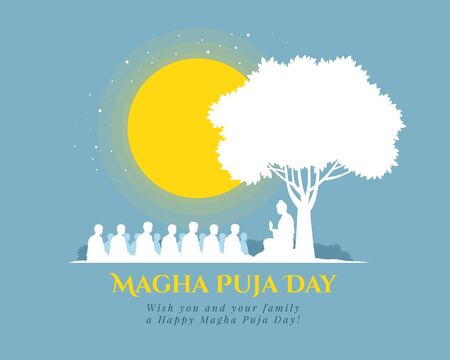 Magha puja day banner with Nightly scenery The  Buddha giving a discourse on the full moon day vector design