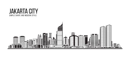 Cityscape Building Simple architecture modern abstract style art Vector Illustration design -  Jakarta city