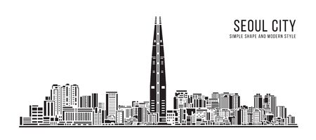 Cityscape Building Simple architecture modern abstract style art Vector Illustration design -  Seoul city