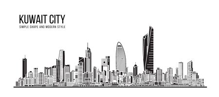 Cityscape Building Abstract Simple shape and modern style art Vector design - Kuwait city