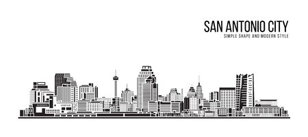 Cityscape Building Abstract Simple shape and modern style art Vector design - San Antonio city