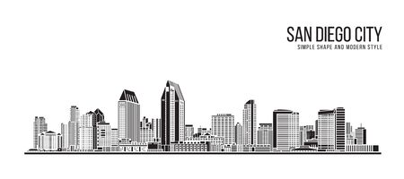 Cityscape Building Abstract Simple shape and modern style art Vector design - San diego city