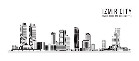 Cityscape Building Abstract Simple shape and modern style art Vector design - Izmir city