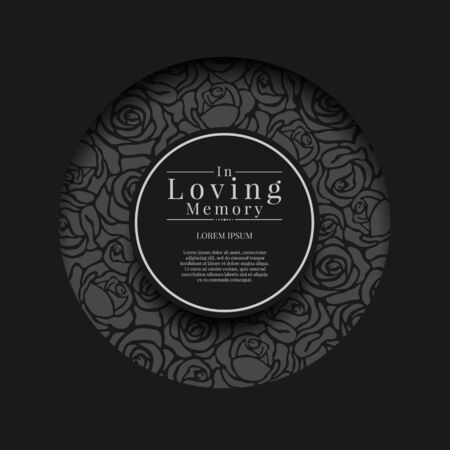 Black circle groove frame with abstract rose texture and in loving memory text in center circle vector design Vecteurs