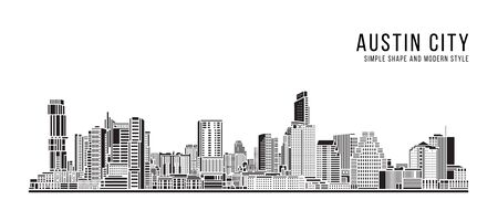 Cityscape Building Abstract Simple shape and modern style art Vector design - Austin city