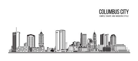 Cityscape Building Abstract Simple shape and modern style art Vector design - Columbus city