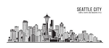 Cityscape Building Abstract Simple shape and modern style art Vector design - seattle city
