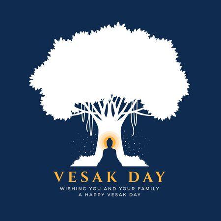 Jour de Visak avec la méditation de Bouddha de paysage nocturne sous l'arbre de bodhi sur la conception de vecteur de fond bleu Vecteurs