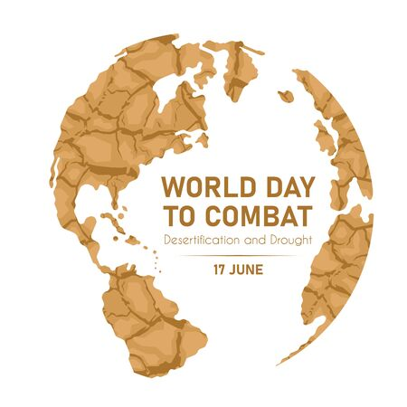 World Day Combat Desertification And Drought global world with dry soil texture sign vector design