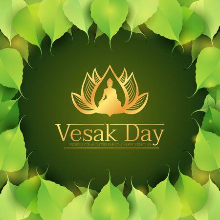 Vesak day banner - gold buddha in lotus sign on green bodhi leaves around frame