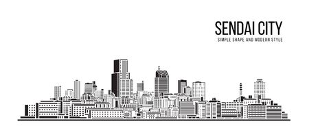 Cityscape Building Abstract Simple shape and modern style art Vector design - Sendai city