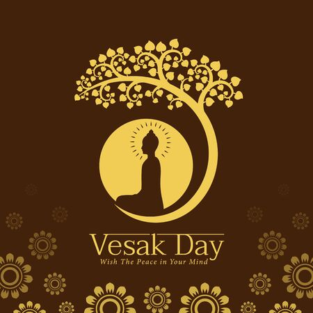Vesak day banner with Yellow The lord buddha Meditate under bodhi tree and circle full moon sign on brown background vector design