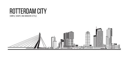 Cityscape Building Abstract Simple shape and modern style art Vector design - Rotterdam city Stock Illustratie