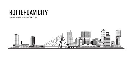 Cityscape Building Abstract Simple shape and modern style art Vector design - Rotterdam city , Netherlands