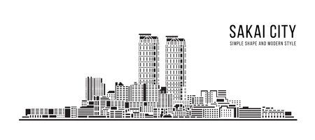 Cityscape Building Abstract Simple shape and modern style art Vector design - Sakai city