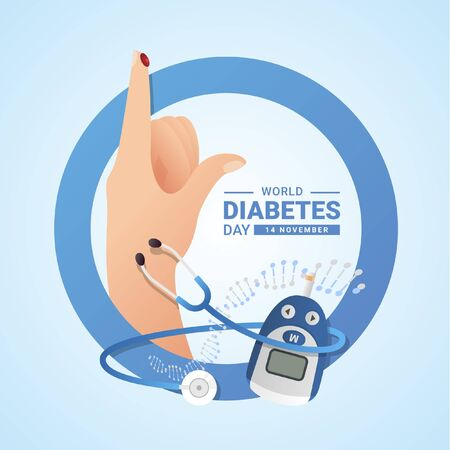 World diabetes day with blood on finger hand , Glucose testing stethoscope and DNA sign on blue circle ring vector design