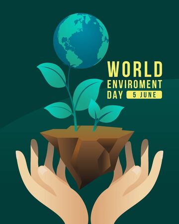 world environment day banner with hand hold care globe tree on earth ground vector design 일러스트
